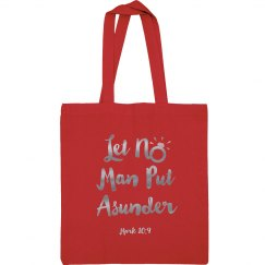 Let No Man Put Asunder Verse Silver Metallic Words Tote