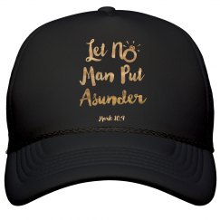 Let No Man Put Asunder Verse Gold Metallic Words Cap