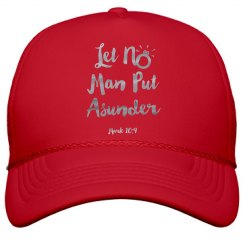 Let No Man Put Asunder Verse Silver Metallic Words Cap
