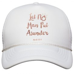 Let No Man Put Asunder Verse Copper Metallic Words Cap