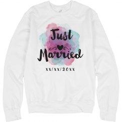Cute Custom Watercolor Just Married