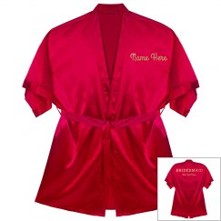 Custom Name Bridesmaid Metallic Robe