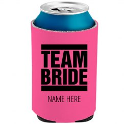 Team Bride Neon Koozie Wedding