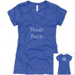 Boujie Bride Back Logo Blue V Neck T Shirt