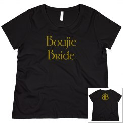 Boujie Bride Back Logo Gold and Black Plus Size Tee