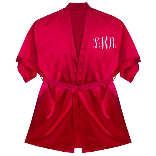 0681de2dd7 Personalized Monogram Robe Satin Kimono Short Robe