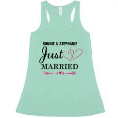 Just Married Tank with Hearts