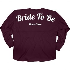 Bride To Be Custom Name Jersey