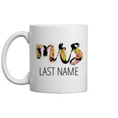 Floral Mrs Custom Last Name Gift