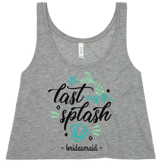fbf9763ee8 Last Splash Bridesmaid Bachelorette Ladies Flowy Boxy Cropped Tank Top