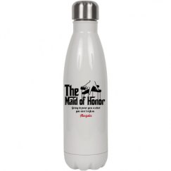 17oz White Stainless Steel Cola Shaped Insulated Water Bottle