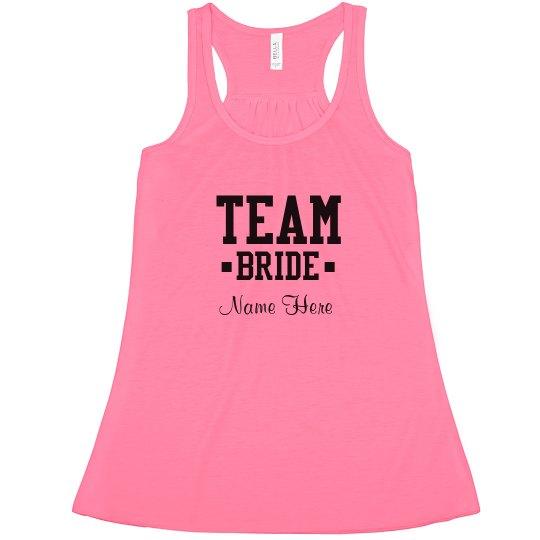 be17c4d5f2 Cute Custom Team Bride Neon Ladies Flowy Racerback Tank Top