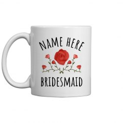 Custom Name Bridesmaid Flower Mug