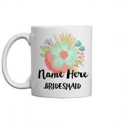 Personalized Bridesmaid Flower Mug