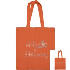 Holy Matrimony Verse Copper Metallic Text Tote Bag