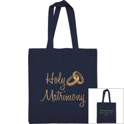 Holy Matrimony Verse Gold Metallic Text Tote Bag