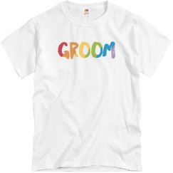 Groom in colorful text Cotton Tee