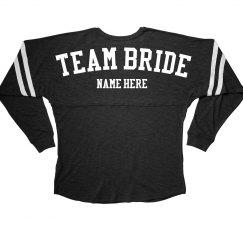 Team Bride Custom Name Bridal Party Long Sleeve Jersey