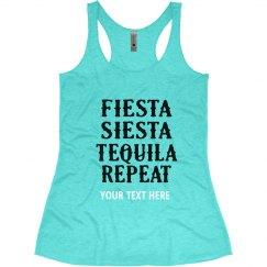 Fiesta Siesta Tequila Repeat Bachelorette tank top
