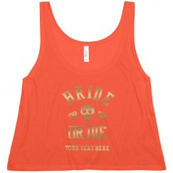 Ladies Flowy Metallic Boxy Cropped Tank