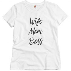 Short Sleeve Wife Mom Boss Tshirt