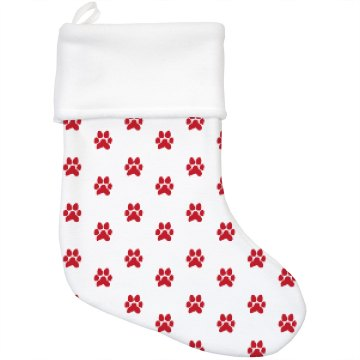 Adorable Paw Print Holiday Stocking