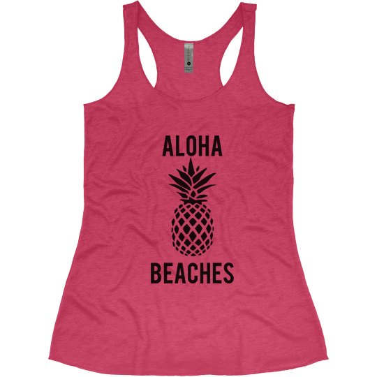 dcb105fa753b3 Aloha Beaches Beach Bachelorette Tank Tops Ladies Slim Fit Super Soft  Racerback Triblend Tank Top  Bachelorette Party Tank Tops and Shirts