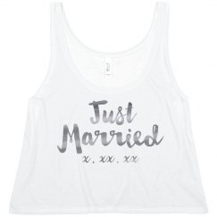 Just Married Silver Metallic Crop