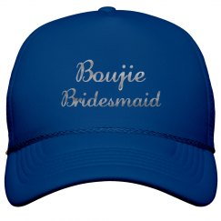 Boujie Customizable Bridesmaid Silver Metallic Text Cap