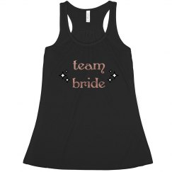 Team Bride Tank With Copper and Gold Text