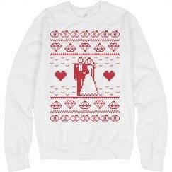 Christmas wedding red sweatshirt.