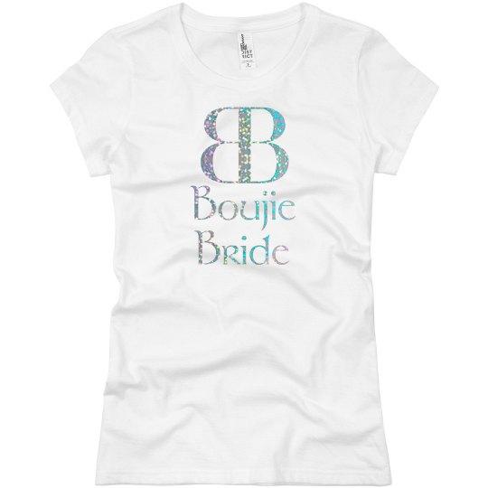 Boujie Bride Logo Silver Glitter T Shirt