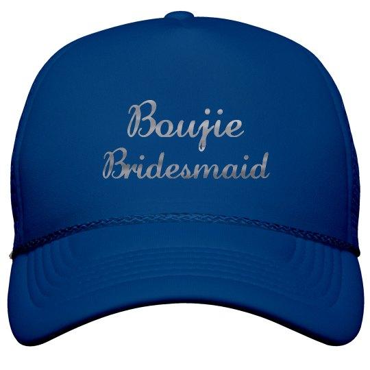 Boujie Customizable Bridesmaid Silver Metallic Text Cap