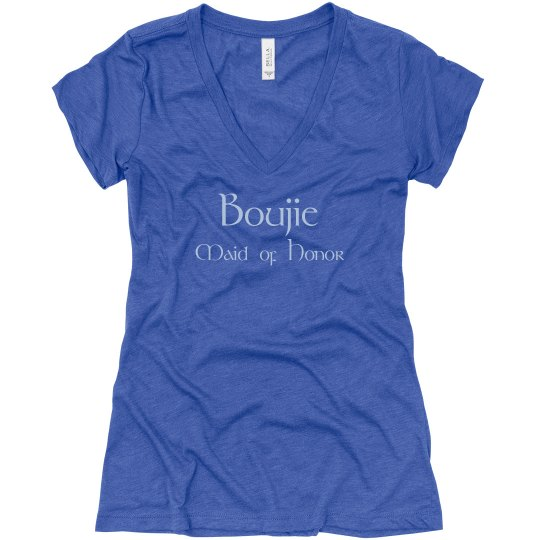 Boujie Maid of Honor Back Logo Blue V Neck T-Shirt