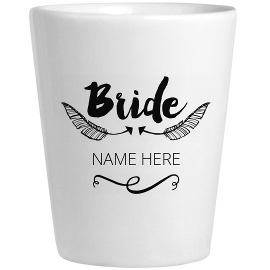 Bride Arrow Feather Shot Glass