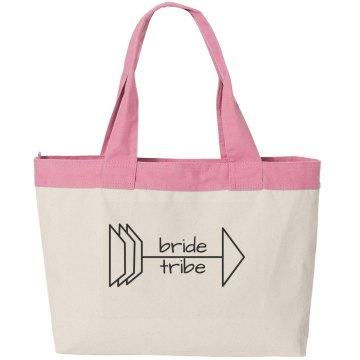bride tribe arrow canvas tote