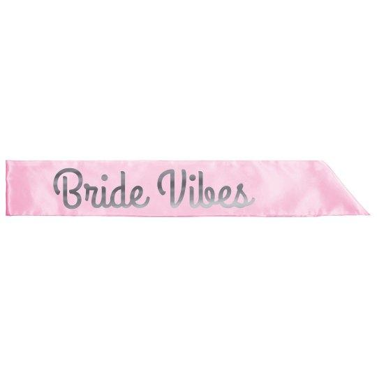 Bride Vibes Silver Metallic Sash