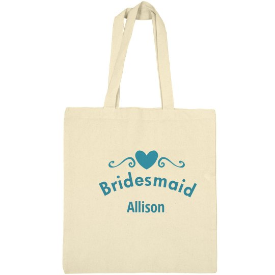 Bridesmaid heart tote bag