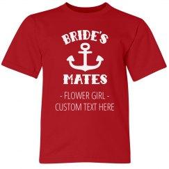 Kids Bride's Mates Flower Girl Anchor Nautical Tee