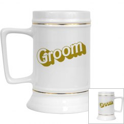 Groom Gold Trim Reception Drinking Stein