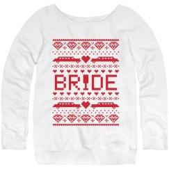 Christmas bride red sweatshirt.