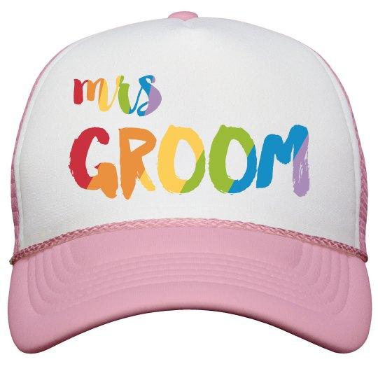 Colorful Mrs. Groom Trucker Hat