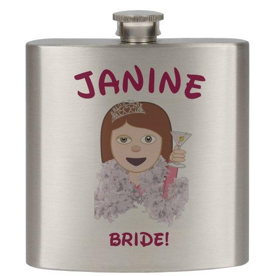 Custom Bride Emoji Flask