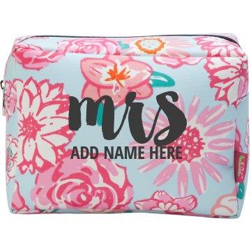 Custom Floral Mrs. Makeup Holder