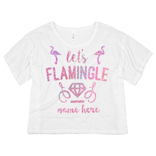 Custom Glitter Flamingle Design