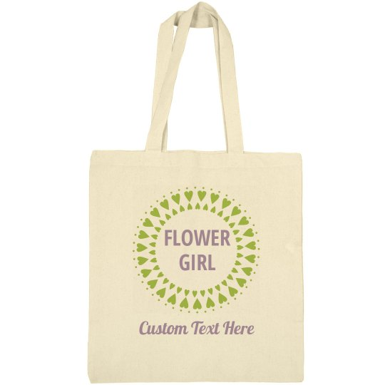 Cute & Custom Flower Girl Heart Tote Bag Gift