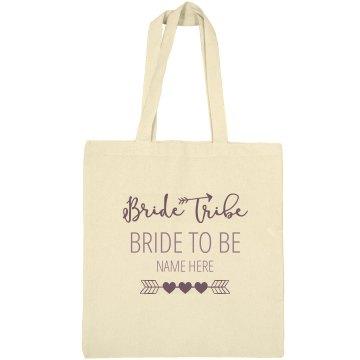 Cute Custom Name Bride To Be Bride Tribe Tote Bag