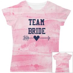 All Over Print Team Bride Tshirt Watercolor
