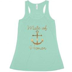 Nautical Anchor, Mate of Honor Bachelorette Tank top