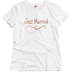 Simple Metallic Just Married!